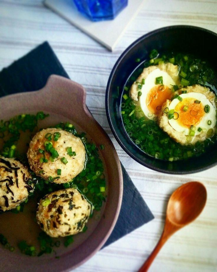 オートミールの鶏団子スープ*  ゆで卵·大葉·チーズ·ひじきなどを混ぜたヘルシーな鶏胸肉とオートミールの鶏団子スープ*  汁ごと冷凍して、お弁当にも♪