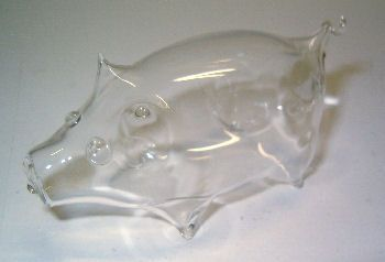 Glazen varkentje TE KOOP voor 9,95 euro - http://fmlkunst.home.xs4all.nl/glazenvarkens2/glas2.htm