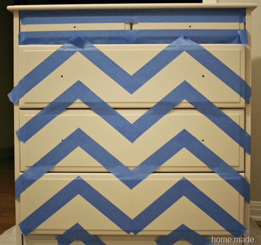 taped chevron dresser. I just might do this!