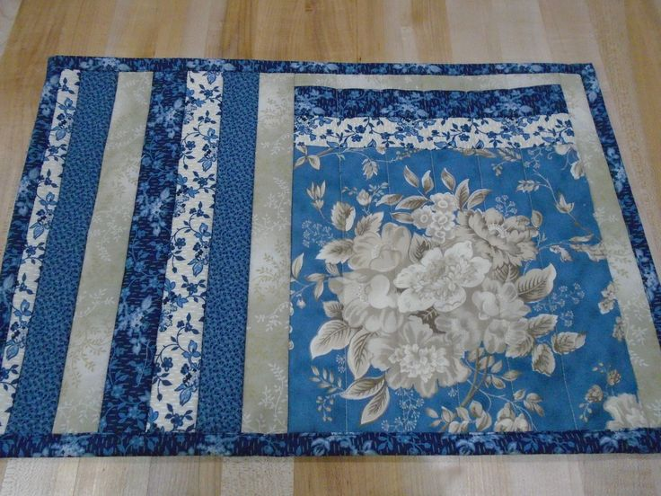 Placemats,Handmade Placemats,Set of 4 Placemats,Floral Placemats,Quilted Placemats,Blue Placemats,Cream Placemats,Blue Kitchen Placemats by SweetSusieMarie on Etsy
