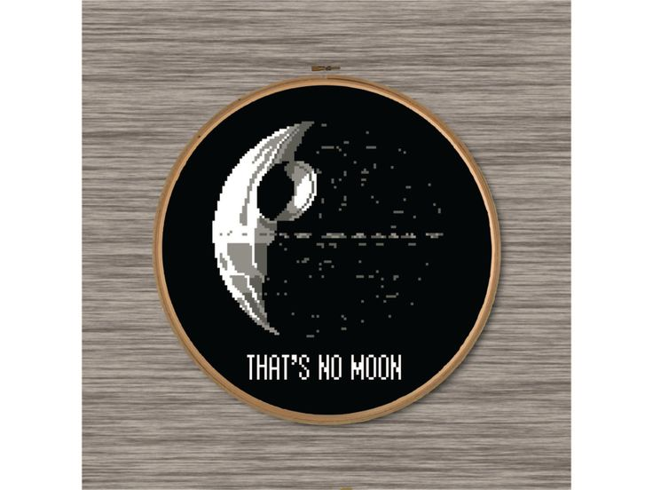 """PDF Cross Stitch Pattern: Death Star and Star Wars quote - """"That's No Moon"""""""