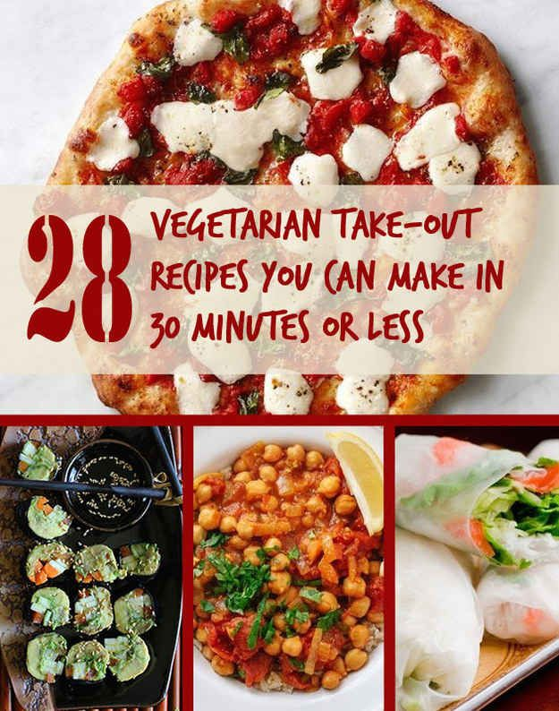 28 Vegetarian Recipes That Are Even Easier Than Getting Take-Out; I might add meat, but having the base recipes is awesome!