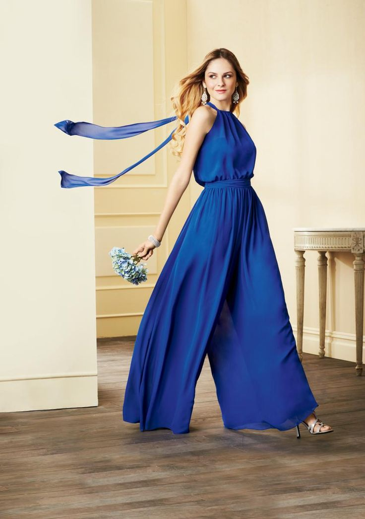 Alfred Angelo 7302 Floor Length chiffon bridesmaid jumpsuit with a halter neckline and blouson bodice detail.