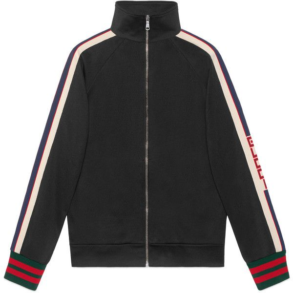 Gucci Technical Jersey Jacket (4,310 SAR) ❤ liked on Polyvore featuring men's fashion, men's clothing, jacket's, gucci, black, men, ready-to-wear, sweatshirts, gucci mens clothing and men's apparel