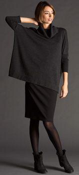 Eileen Fisher - slim skirt, loose top, booties
