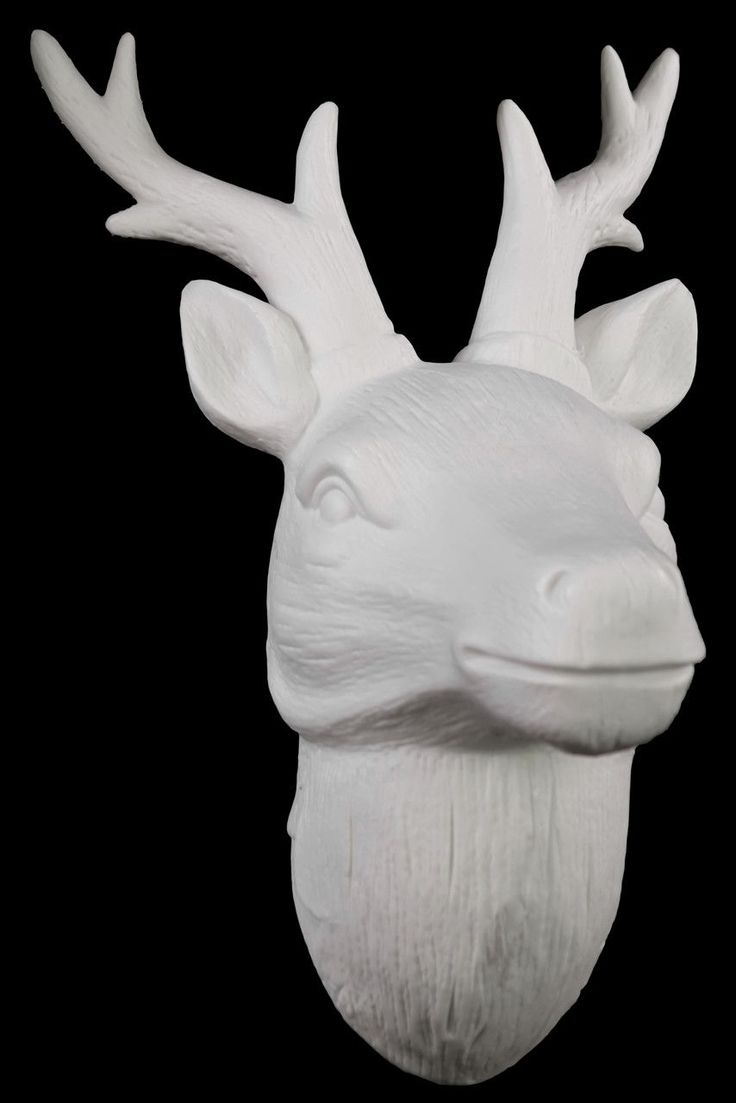 Glossy Crown Wall Decor : Porcelain deer head wall decor gloss white heads
