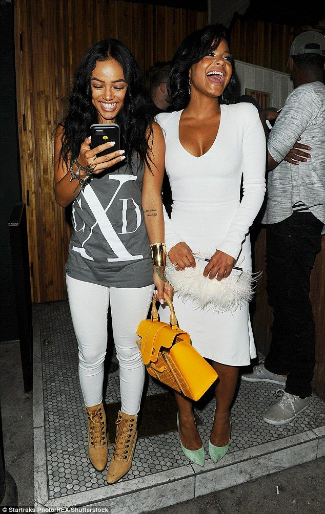 Girls' night! Karrueche Tran and Christina Milian couldn't contain their giggles as they enjoyed a night out at Hollywood hotspot The Nice Guy on Monday