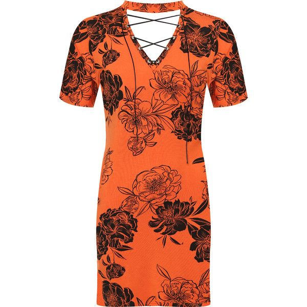 WearAll Plus Size Floral Tie V-Neck Short Sleeve T-Shirt Dress ($24) ❤ liked on Polyvore featuring dresses, orange, orange dress, plus size lace dress, plus size floral dresses, v neck t shirt dress and t-shirt dresses