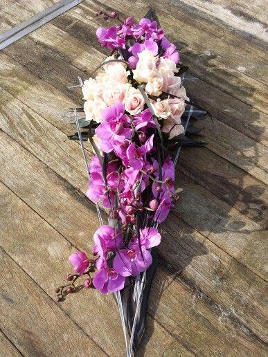 Rouwstuk met orchideeën