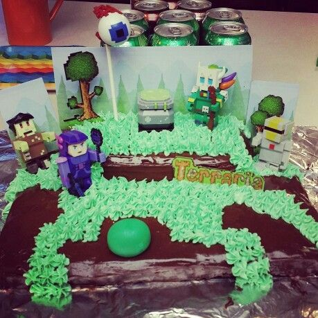 Homemade Terraria cake for boys 9th birthday.