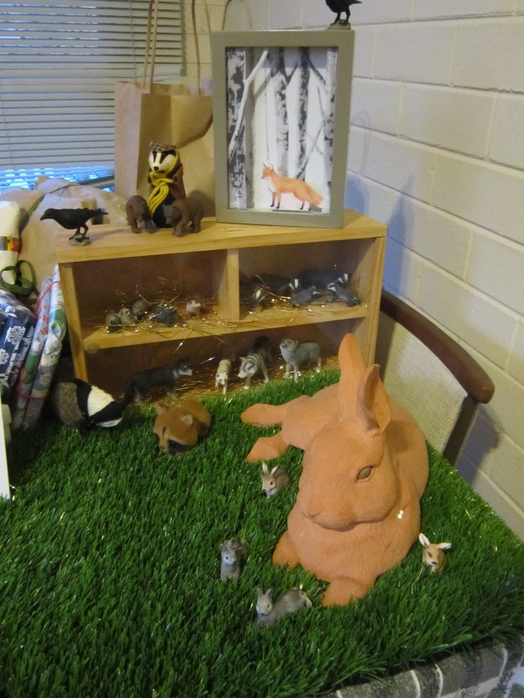 woodland birthday decorating, bunny, badger, fox, diorama