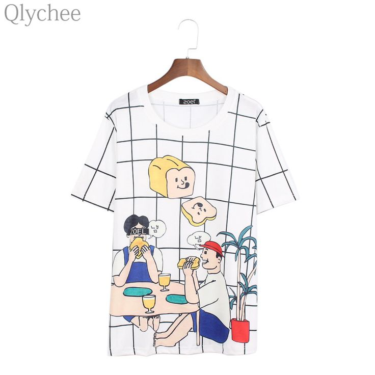 Qlychee Summer Harajuku Women T Shirt Cartoon Picnic Bread Print Female T-shirt Short Sleeve Funny Pattern Loose Plaid Tee Top #Affiliate