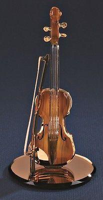 Glass Baron ~ Violin Figurine ~ 22 kt. gold trim ~ Orchestra ~ New in Box