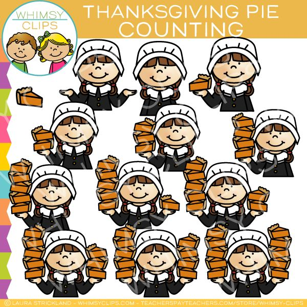 Thanksgiving Pie Counting Clip Art Clip art