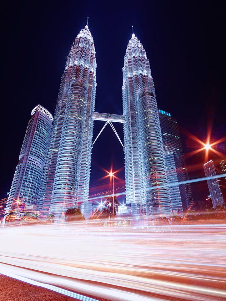 Kuala Lumpur KLCC Petronas Towers Skyline Cityscape Night Light Trails City Roads Paul Reiffer Landscape Photography