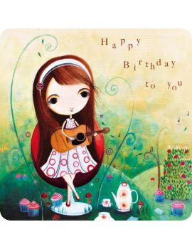"""Jehanne Weyman carte postale carrée (14 cm) """"Happy birthday to you"""""""
