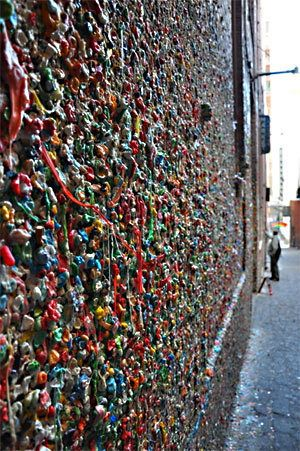 Street art, Seattle style. Behold the mighty Gum Wall!