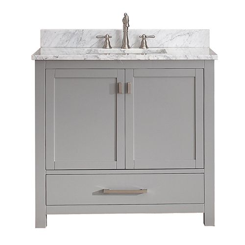Modero Chilled Gray 36 Inch Vanity Combo With White Carrera Marble Top Avanity Vanities Ba