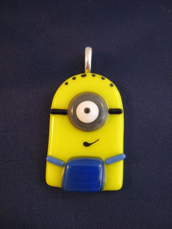 One-Eyed Minion Fused Glass Pendant