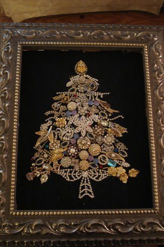 Vintage antique Christmas tree altered framed art Vintage jewelry and buttons