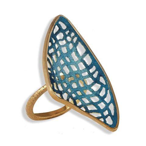 Handmade Gold Plated Silver Ocean Blue Ring
