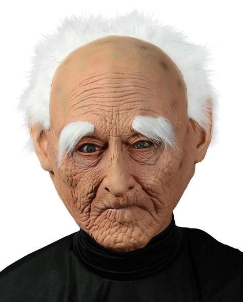 Creepy Old Man Mask W Hair