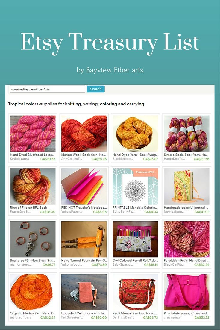 Tropical colors-supplies for knitting, writing, coloring and carrying