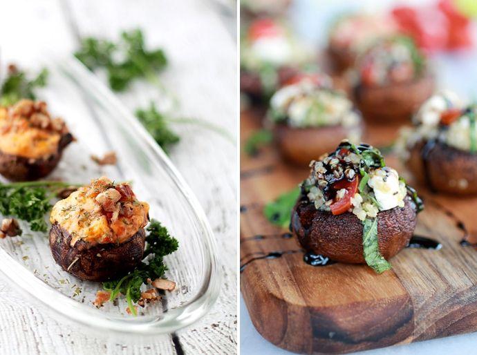 recept gevulde champignon, gevulde paddenstoel, amuse, kerstdiner, kerst menu
