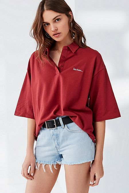 b4a2732d23 UO iets frans... Oversized Short Sleeve Polo Shirt   Things I Need ...