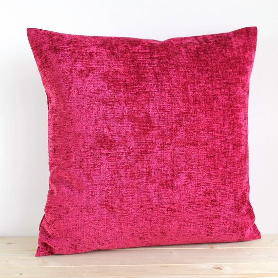 Cerise Pillow Cover 16 Inch Plain Cushion Cover by CoupleHome
