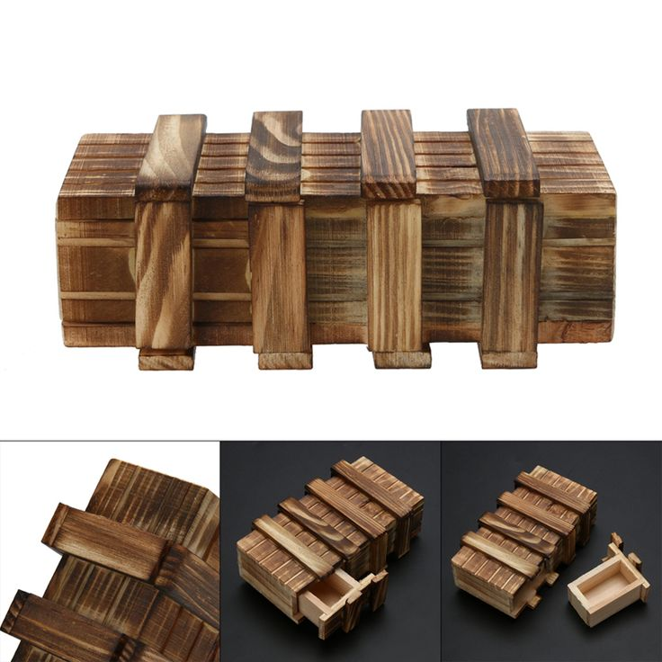 Funny Magic Compartment Wooden Puzzle Box With Secret Drawer Brain Teaser  Baby Kid Puzzles Toy FCI#