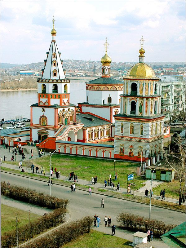 Orthodox cathedral in Irkutsk, the old city in Siberia, known for the largest energy company in Russia and for the aviation industry producing civil and military aircraft.