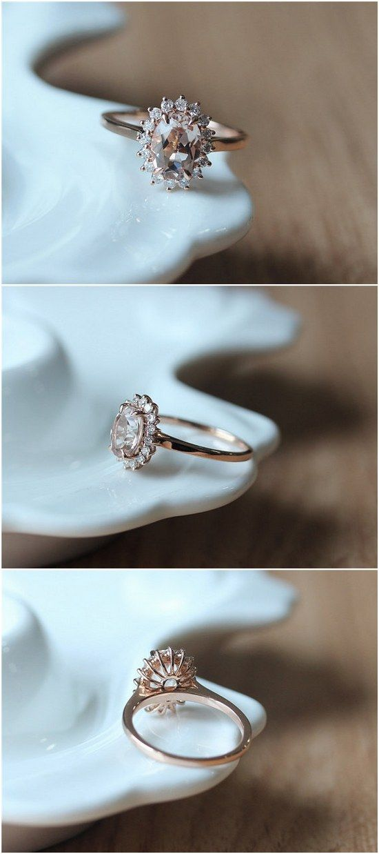 Oval Cut Morganite Engagement Ring / http://www.deerpearlflowers.com/inexpensive-engagement-rings-under-1000/2/