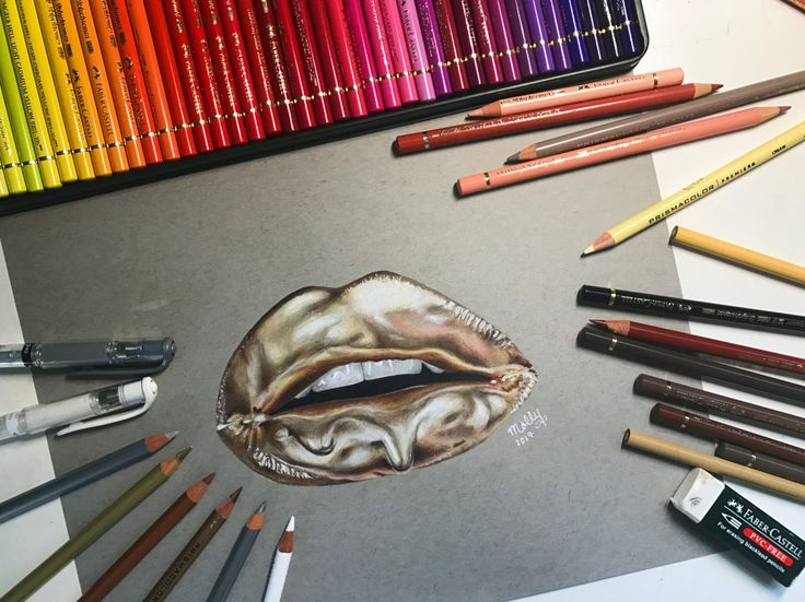 Metallic Lip Drip - made with Faber Castell Polychromos and Prismacolor pencils   By Mollie Stanko, check out more of her work at https://www.instagram.com/matte.molly/