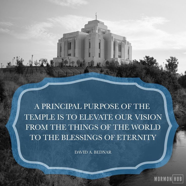 """""""A principal purpose of the temple is to elevate our vision from the things of the world to the blessings of eternity."""" From #ElderBednar's pinterest.com/pin/24066179230999303 inspiring Oct. 2017 #LDSconf facebook.com/223271487682878 message lds.org/general-conference/2017/10/exceeding-great-and-precious-promises Learn more facebook.com/LDStemplespage and #passiton. #ShareGoodness"""