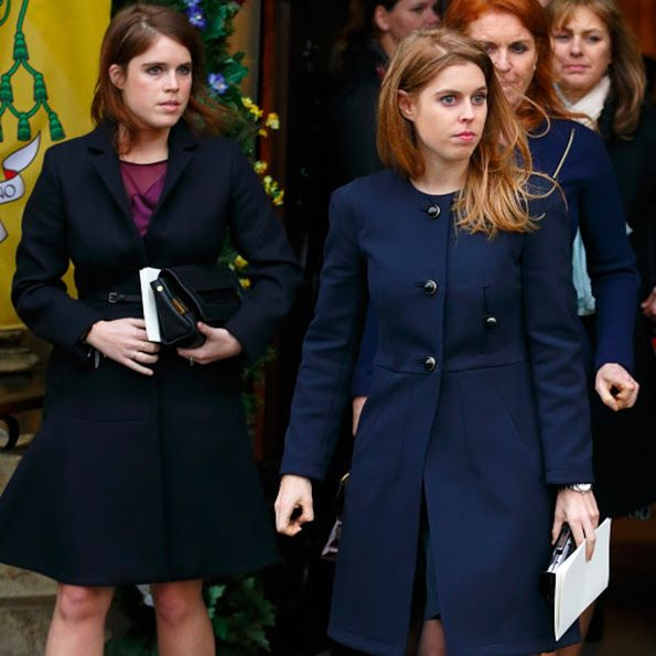 The British Royal Family: The Yorks girls at tends a memorial service   Sarah Ferguson Duchess of York and her daughters the Princesses of York Princess Eugenie and Princess Beatrice attended a memorial service for Miles Frost at the Arundel Cathedral on February 5 2016 in Arundel. Miles Frost son of the late Sir David Frost died aged 31 in July 2015  british royal family british royals british style Duchess of York english style Princess Beatrice Princess Eugenie Princess of York Sarah…