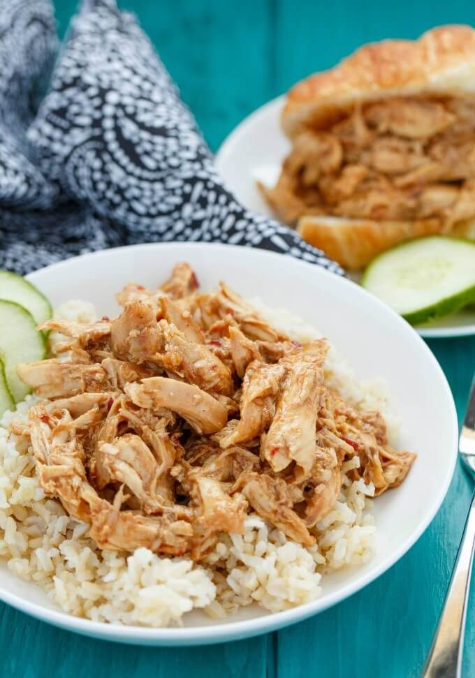 A quick and simple meal for any occasion, this slow cooker peanut butter chicken is perfect even for the pickiest of eaters!