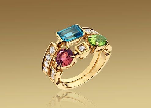 bulgari color collection ring in 18kt yellow gold with coloured gemstones and pav diamonds