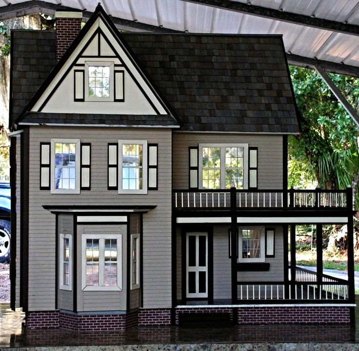 victoria 39 s farmhouse finished dollhouse model makes a. Black Bedroom Furniture Sets. Home Design Ideas