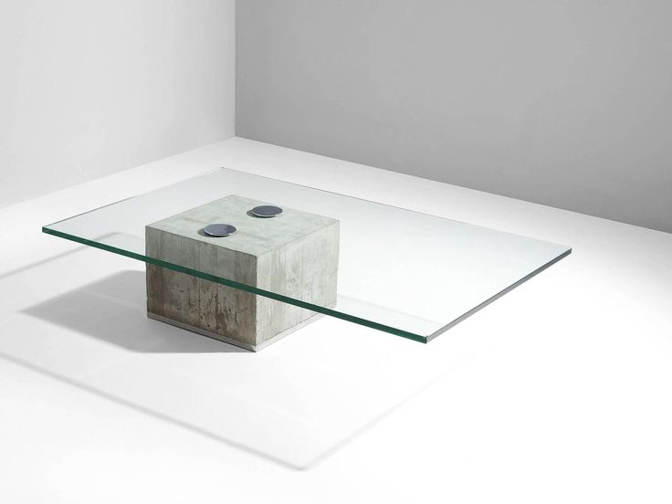 Sergio and Giorgio Saporiti Glass and Concrete Coffee Table For Sale at 1stdibs