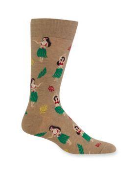 Hot Sox Men's Hula Girls Socks-Single Pair - Hemp Heather - M (10 - 13)
