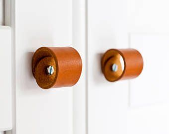 """Leather Drawer Handle – 3 Sizes – The """"Tilikum"""" – Leather Cabinet Door Handles and Drawer Pulls"""