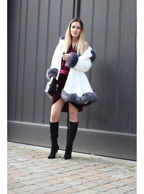 ca094b25c87 Women s Plus Size Faux Fur Fur Coat - Color Block