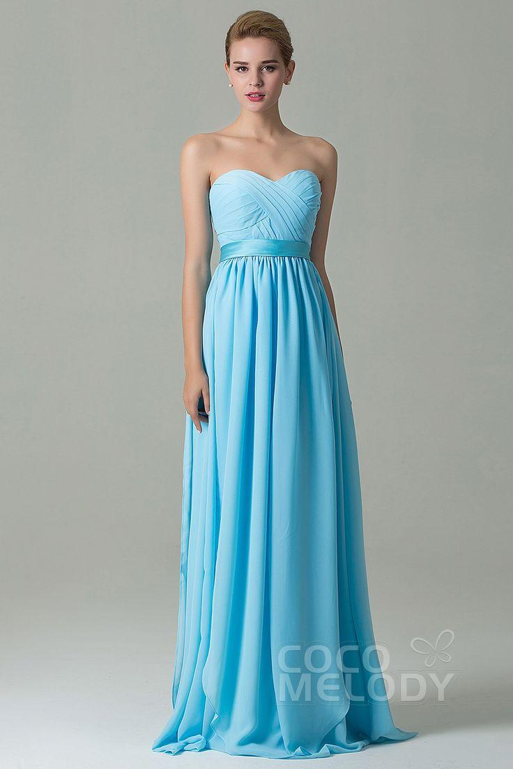 Charming Sheath-Column Natural Floor Length Chiffon Light Blue Sleeveless Zipper Convertible Bridesmaid Dress with Ribbons and Draped Streamers COZF140A1 #cocomelody #weddingdress