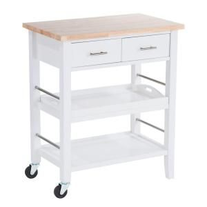 W Wood Kitchen Cart With Drawers And Tray In White TBFLWH