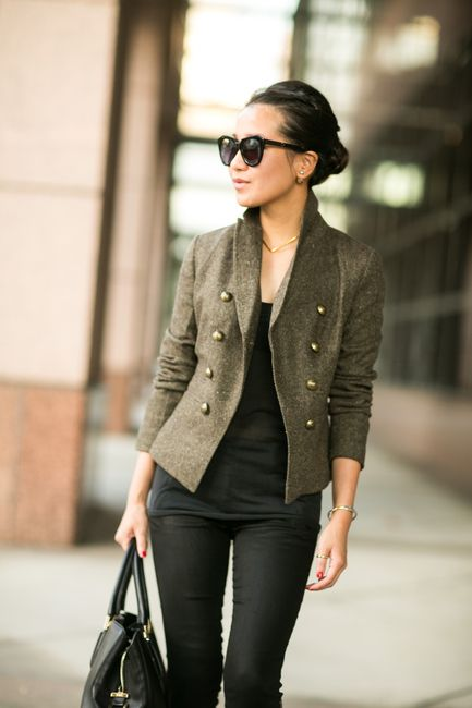 Olive Love :: Sharp blazer & Caged booties :: Outfit :: Top :: Banana Republic blazer, Vince top Bottom :: J Brand Bag :: Tod's Shoes :: Jimmy Choo Accessories :: Karen Walker sunglasses, Dior earrings Published: September 14, 2014