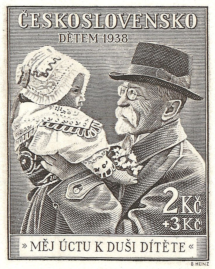 Stamp block detail - Masaryk and child - 1938