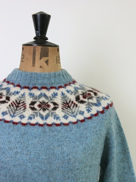 Shetland Sweater • Size 10/12: Beautifully knitted ice blue pure wool jumper with nordic print neckline. Cosy!