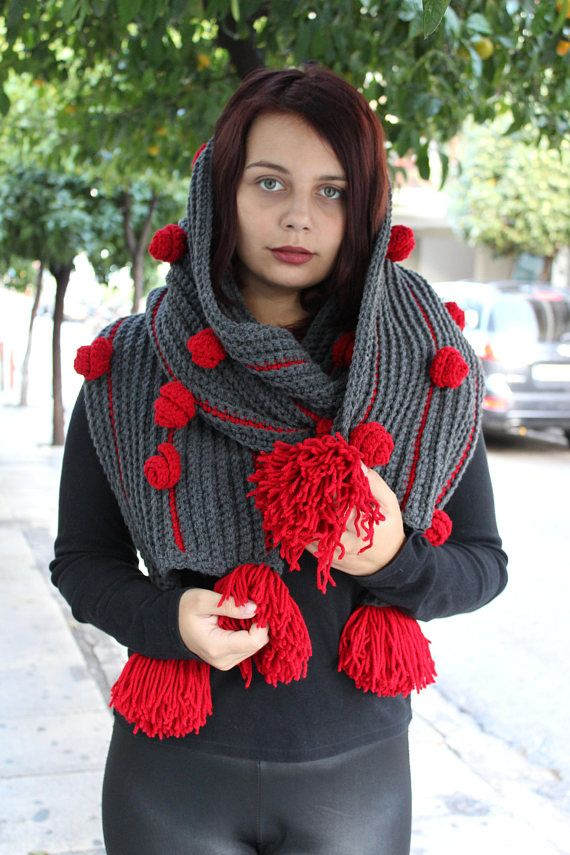 SCARF Scarf Big Boldgloves needle knitted soft perfect