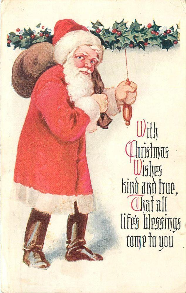 Fmra Christmas Wishes Santa Claus Postcard Tj653 Christmas Postcard Christmas Collectibles Vintage Postcards